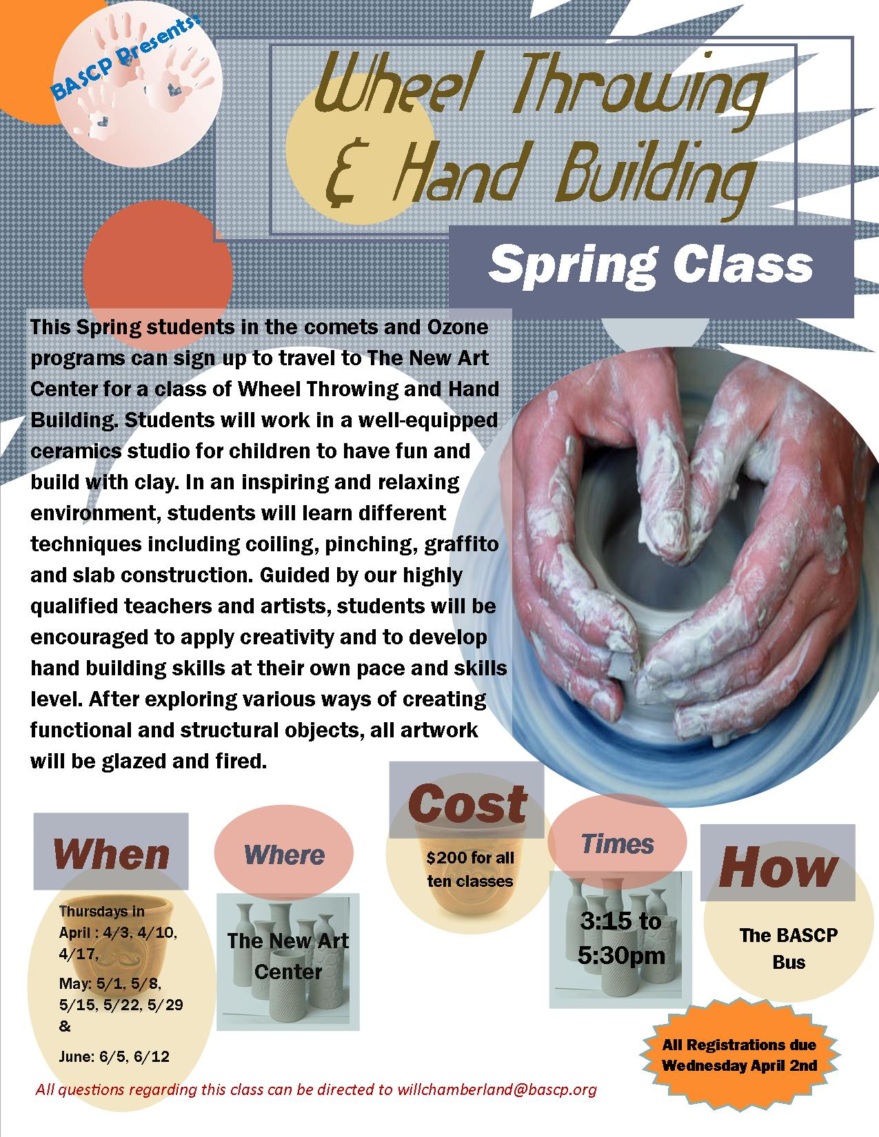 Spring wheel throwing and handbuilding for Alan