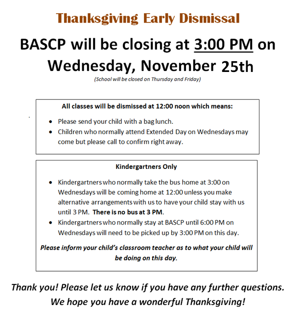 Thanksgiving Closed Early